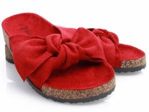 Semišové šľapky červené