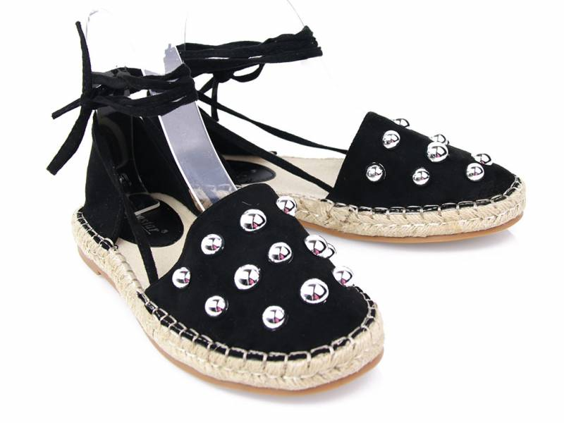 Čierne sandálky Espadrilky