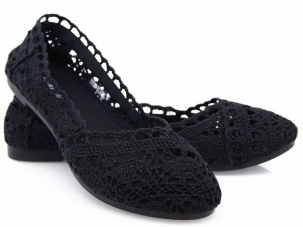 Baleríny čipkované čierne
