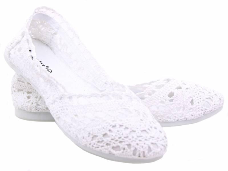 Baleríny čipkované biele