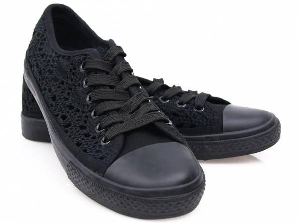 Čierne čipkované tenisky