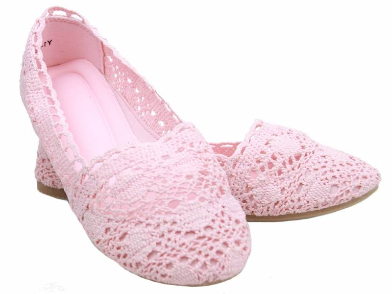 Ružové čipkované balerínky