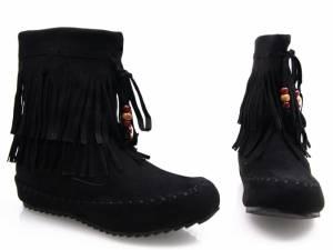 Čierne čižmičky so strapcami
