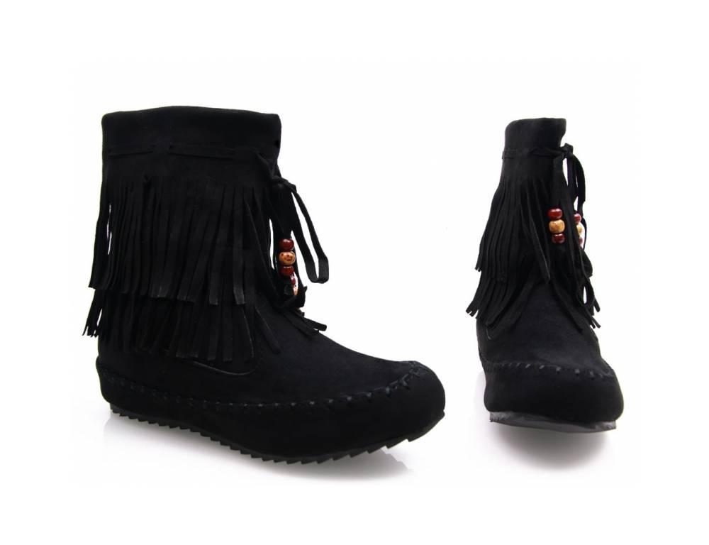 90dbb69837e94 Čierne čižmičky so strapcami, lacné | TOTOchcem.sk