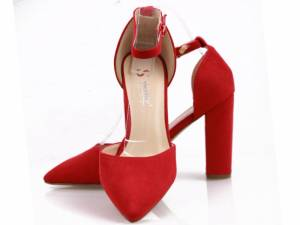 Červené špicaté sandálky
