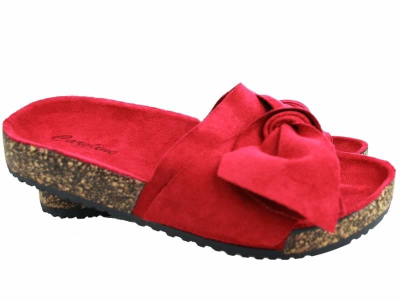 Červené korkové šľapky