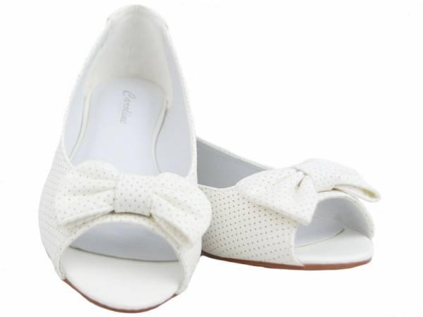 Biele balerínky s mašličkou