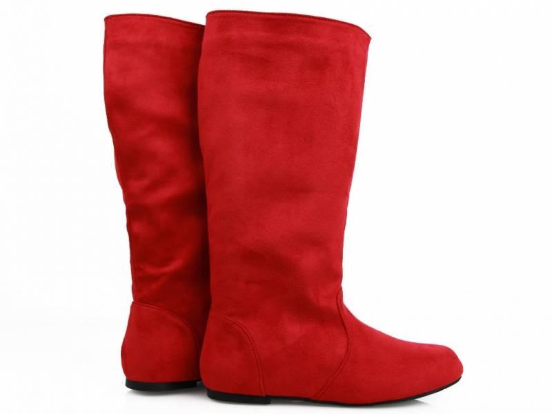 Červené pohodlné čižmy
