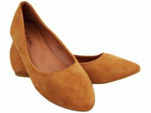 Hnedé semišové balerínky