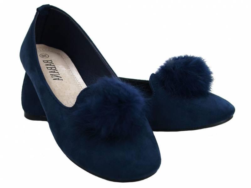 Modré semišové balerínky