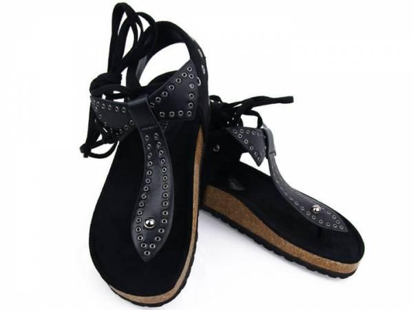 Čierne sandálky šnúrovacie