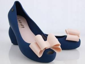 Modré gumené balerínky