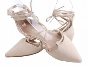 Béžové šnúrovacie balerínky
