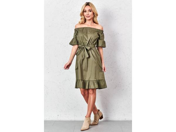 Zelené šaty s volánmi