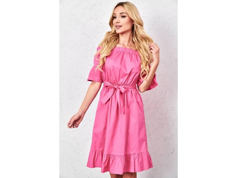 Ružové šaty s volánmi
