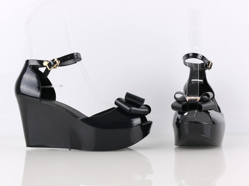 Platformy s mašličkou čierne