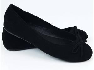 Čierne semišové balerínky