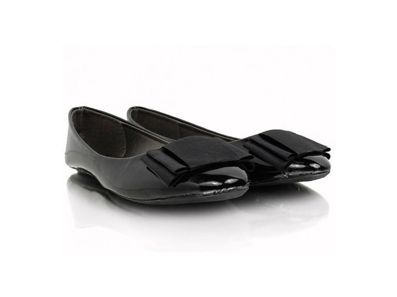 Lesklé balerínky s mašličkou čierne
