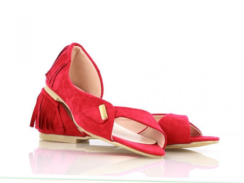 Červené balerínky semišové