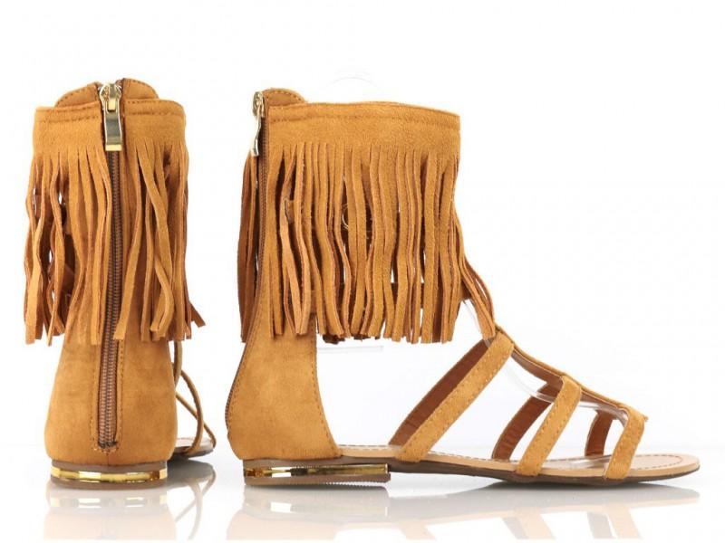 Hnedé strapcové gladiatorky