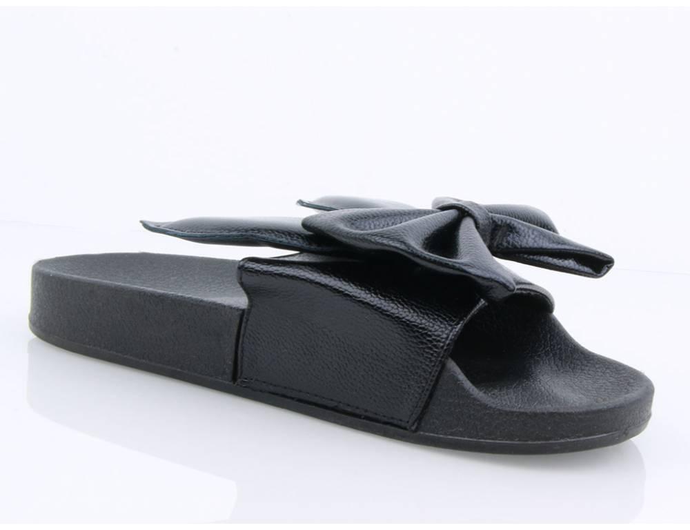 ... Čierne šľapky s mašľou a uškami ... 4f24a89005