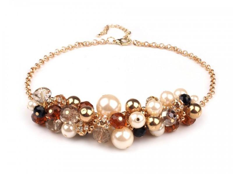 Kovový náhrdelník s korálikmi